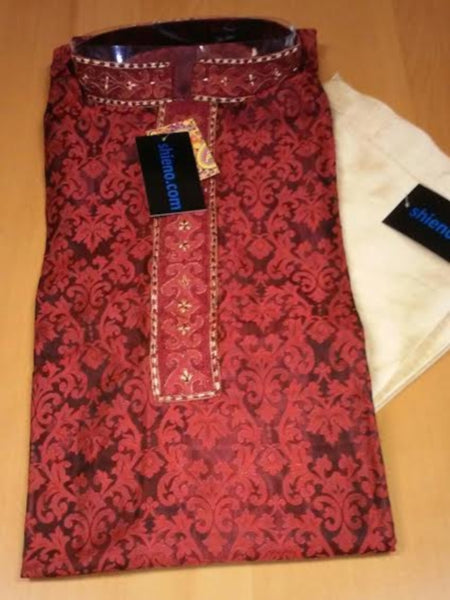 Men's 7024 Red Golden Kurta Pajama Set Large Size