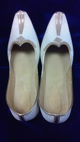 Jooti 7041 Ivory Gold Handcrafted Wedding Khussa Shoes for Men