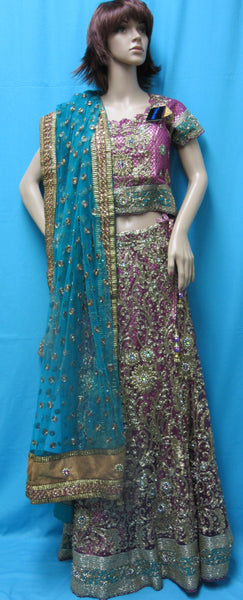Lehenga 7066 Magenta Green Indian Bridal Wear Medium Lehenga Choli