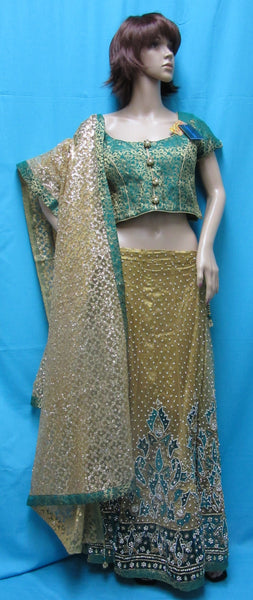 Lehenga 7067 Mustard Gold Green Trousseau Bridal Wear (M) Lehenga Choli