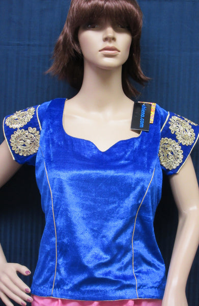 Choli 7070 Blue Velvet (L) Blouse for Lehenga Chaniya Saree Shieno Sarees