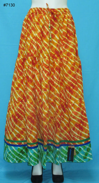 Skirt 7130 Orange Cotton Printed Long Tyre Skirt Indian Chaniya