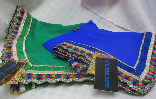 Scarf 7145 Georgette Solid Colors Multi Color Trim Indian Dupatta Chunni