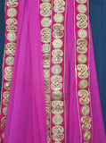 Scarf 7154 Pink Georgette Gold Zari Sequins Trims Indian Dupatta Chunni