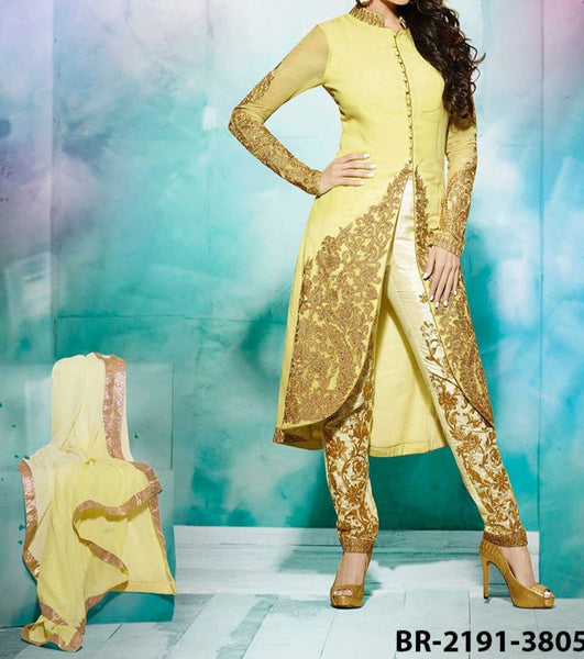 Flared Suit 7189 Yellow Georgette Medium Size Golden Detail Shieno