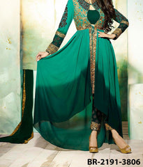 Asymmetrical 7190 Green Georgette Medium Size Golden Detail Shieno