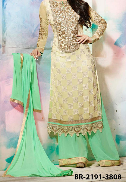 Sharara Suit 7192 Ivory Georgette Small Size Straight Shirt Golden Detail Shieno