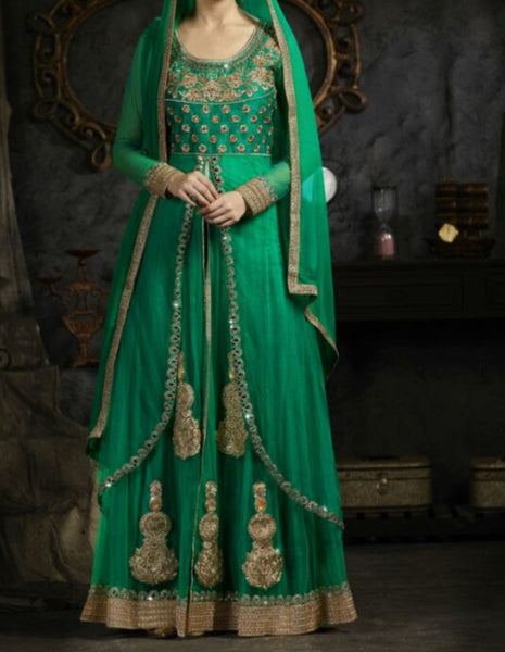 Flared Suit 7195 Green Net Large Size Gold Detail Sharara Shieno