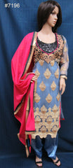 Suit 7196 Azure Salwar Kameez Dupatta Designer Wedding Party Wear Shieno Sarees