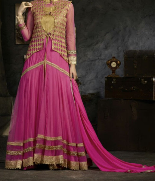 Sharara Suit 7197 Pink Net Jacket Flared Shirt Medium Size Gold Detail Sharara