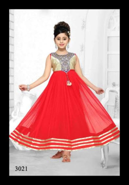 Girls 7207 Red Net Flared Gown Dress Gold Detail