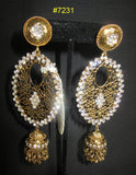 Earrings 7231 Golden Jhumki Mango Rhinestones Earrings