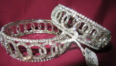 Bangles 7310 Silver Bangles Lustrous CZ Crystal Zircon Stones