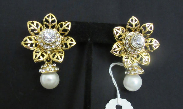 Earrings 7311 Golden Star Leaf Stones Dangling Pearl