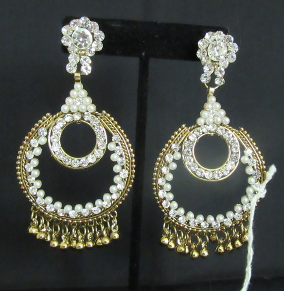 Earrings 7314 Golden chand Pearl Beads Stones Earrings