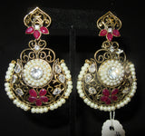 Earrings 7316 Golden chand Red Pearls Stones Earrings