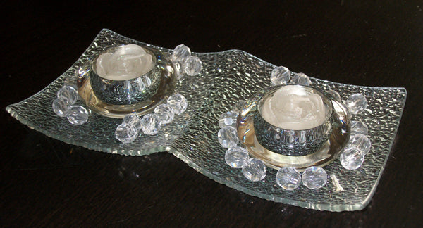 Diamond Cut Plate Candle Holders
