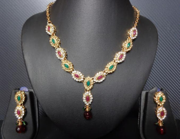 Necklace Set 7378 Golden Red Green CZ Ornate Necklace Earrings Jewelry Set