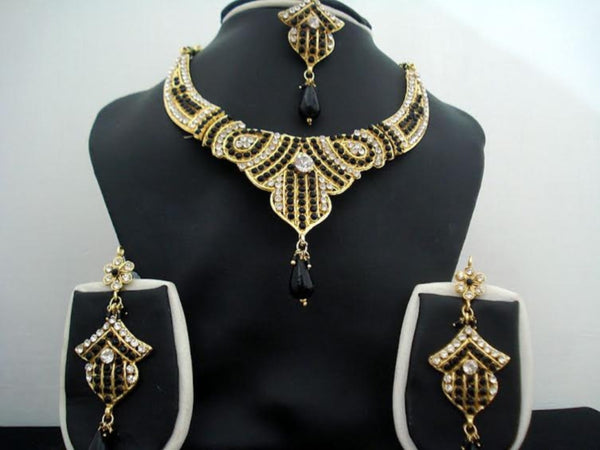 Necklace Set 7380 Golden Green CZ Ornate Necklace Earrings Forhead Jewelry Set