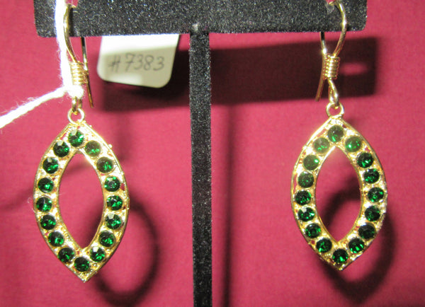 Earrings 7383 Golden Emerald CZ Pearls