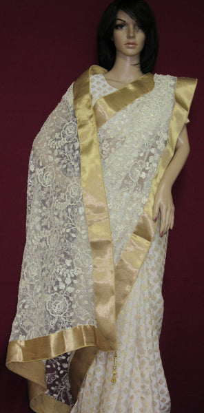 Saree 7390 Off White Jamawar Half & Half Party Wear Sari Shieno Sarees