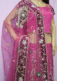 Lehenga 7457 Fuchsia Net Indian Bridal Wear Medium Lehenga Choli