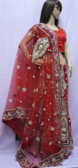 Lehenga 7458 Red Net Indian Trousseau Bridal Wear Medium Lehenga Choli