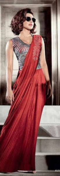 Suit 7557 Priyanka Chopra Inspired Designer Red Saree Dress w/ Blouse (M)