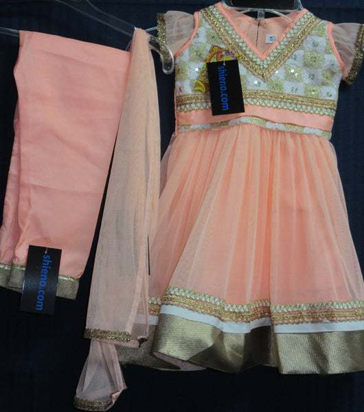 Girl's 7751 Peach Net  Anarkali Suit Indian Party Wear Shieno Sarees