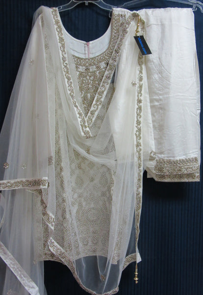 Suit 7790 White Tussar Trousseau Salwar Kameez Dupatta M Bridal Wear Dress