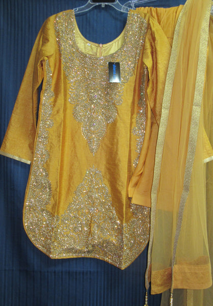 Suit 7792 Golden Tussar Trousseau Salwar Kameez Dupatta M Bridal Wear Dress