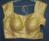 Choli 7797 Gold Saree Blouse (L) Bride's Trousseau Wedding Party Evening Wear