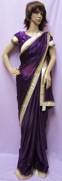 Saree 7817 Violet Cocktail Party Wear Designer Sari Shieno Sarees