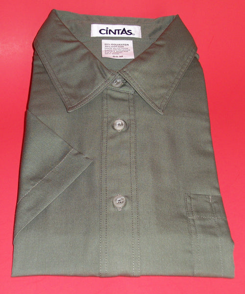 Men's Dress Shirt 781 Dark Green Blended Medium Size Short Sleeves Shirt