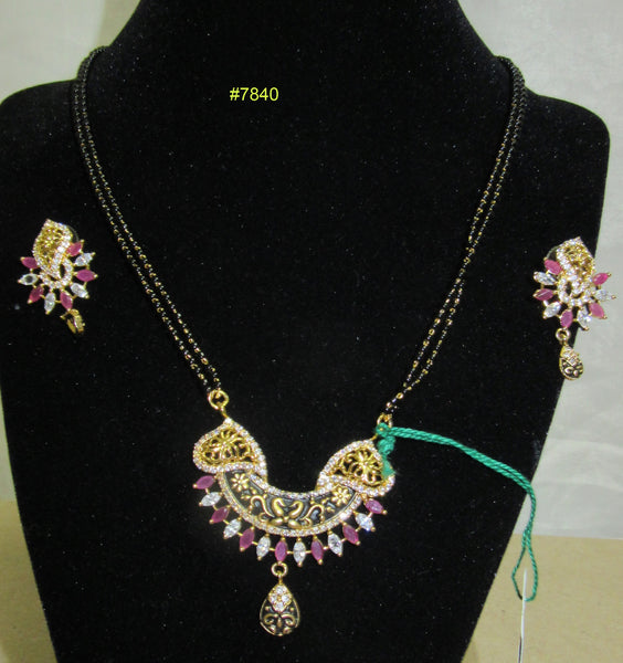 Mangal Sutra 7840  Indian Mangalsutra Necklace Earrings Set Shieno Sarees