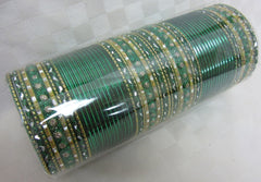 Bangles 7854 Green Gold Indian Tradition Bangles Full Set Shieno Sarees