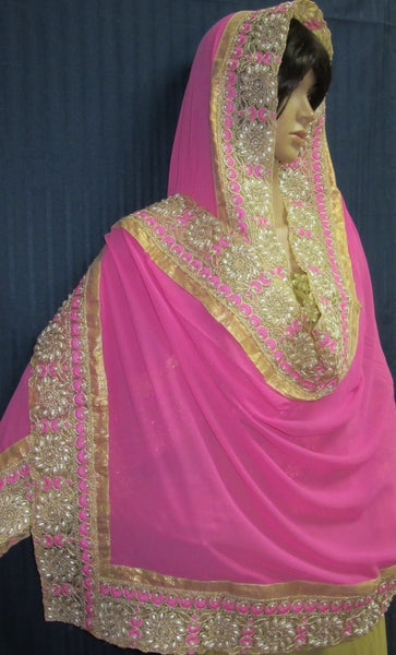 Scarf 7955 Pink Color Georgette Indian Bridal Dupatta Chunni Shieno Sarees