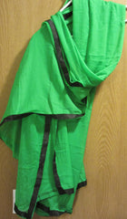Scarf 7957 Green Georgette Black Ribbon Trim Dupatta Chunni Shawl