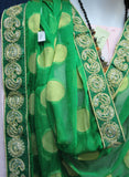 Scarf 8047 Green Orange Red Georgette Party Wear Dupatta Chunn Shieno Sarees