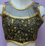 Choli 8078 Raw Silk Net Neck Shoulder Gold Zari Sleeveless Back Open M Size Choli Saree Blouse
