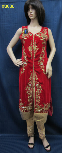 Dress 8088 Red Velvet Top & Shimmer Pants Medium Size Shieno Sarees