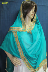 Scarf 8008 Green Georgette Party Wear Dupatta Golden lace Chunni Shieno Sarees