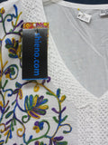 Blouse 8135 White Cotton Designer Kurti Tunic Shirt Indian Shieno Sarees