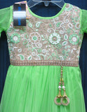 Girl's 8186 Parrot Green Net  Anarkali Suit Indian Party Wear Shieno Sarees