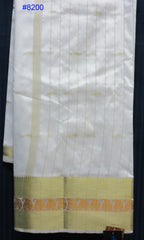Saree 8200 White Silk Kanjiviram Cocktail Evening Wear Sari Shieno Sarees