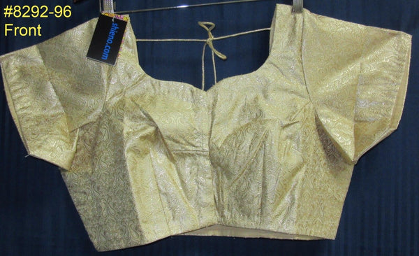 Choli 8369 Gold Brocade Plus Size Large 42 to 58 Choli Saree Blouse