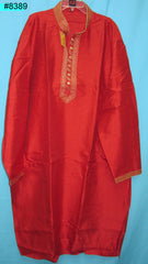 Men's 8389 Plus Size Red Slub Kurta Beige Tussar Pajama Set