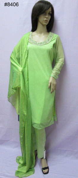 Pakistani 8406 Green Moonlight Kameez Dupatta Plazo Pants Suit Medium Size