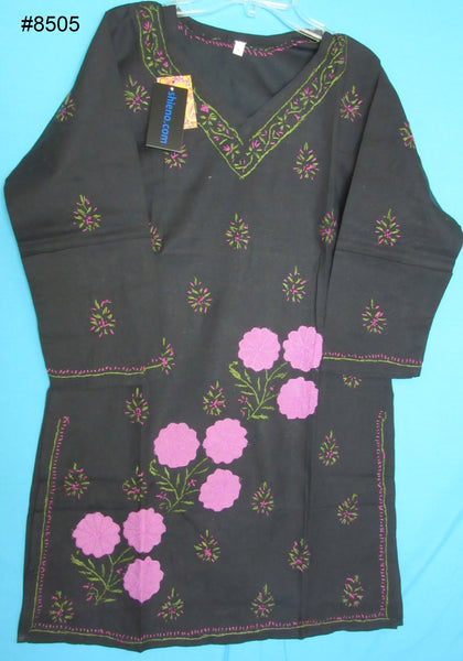 Blouse 8505 Black Cotton Pink Green Detail Kurti Shieno Sarees