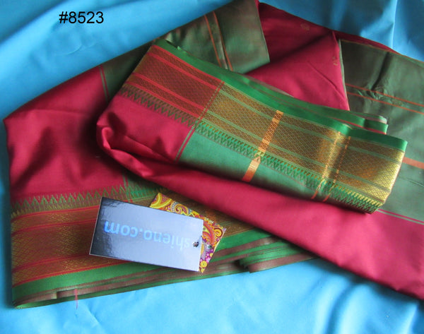 Saree 8523 Red Silk with Green and Golden Border Sari Shieno Sarees
